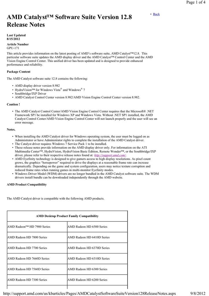 Amd Catalyst Software Suite Version 12 8 Release Manualzz