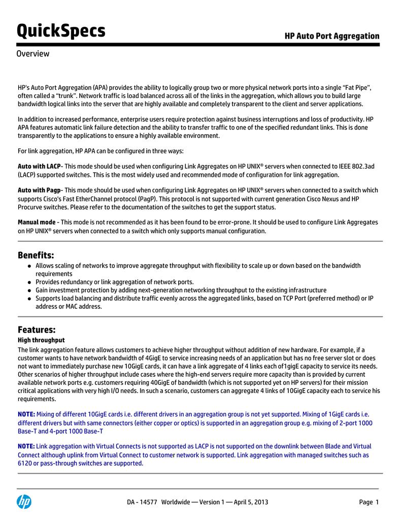 HP Auto Port Aggregation | manualzz com