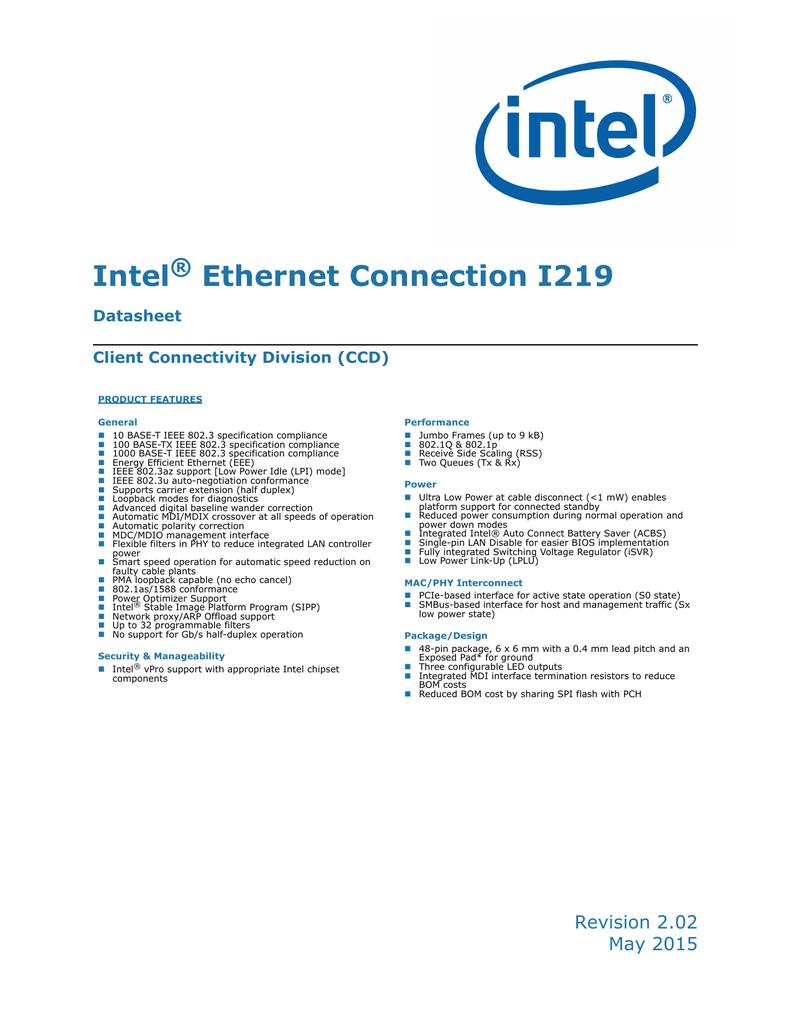 Intel Ethernet Connection I219 | manualzz com