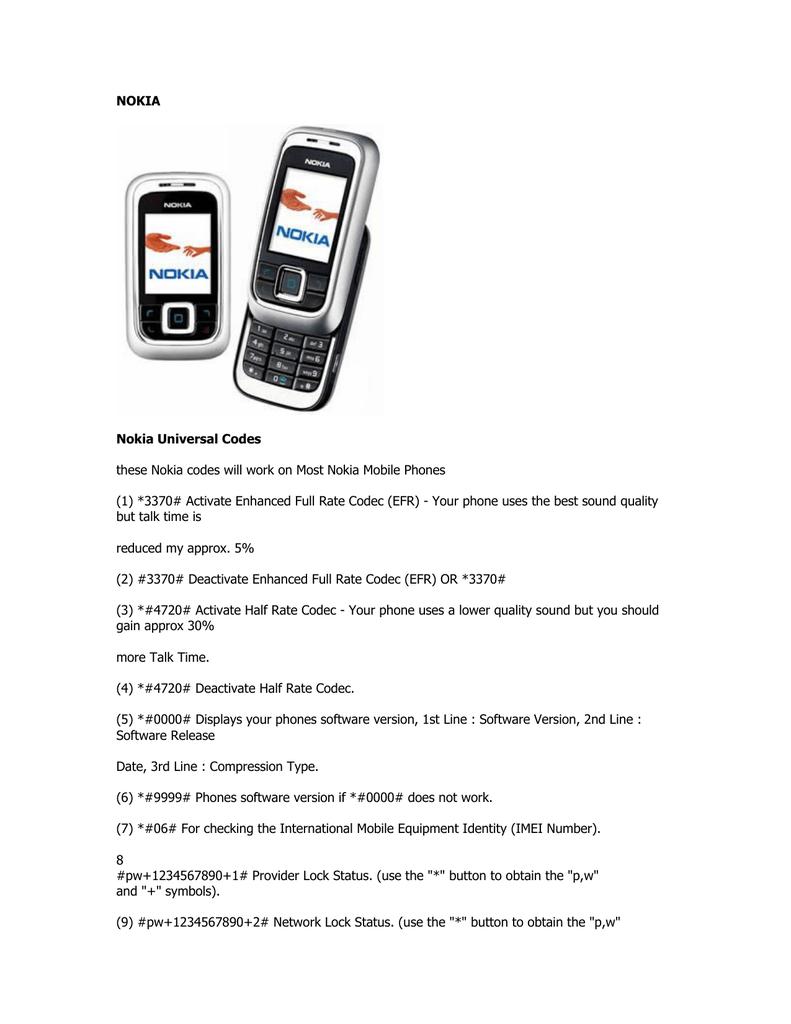 Nokia Universal Codes)  | manualzz com
