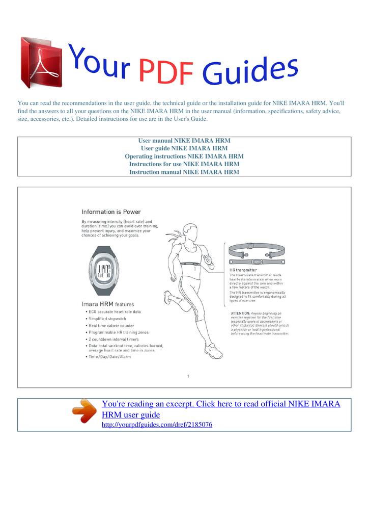 Operating instructions NIKE IMARA HRM | manualzz com