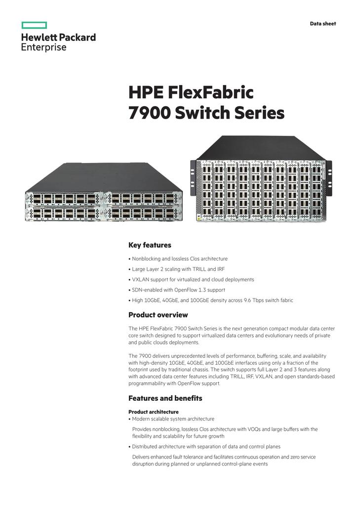 HPE FlexFabric 7900 Switch Series data sheet | manualzz com