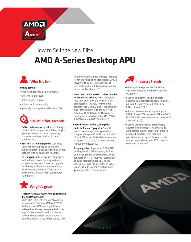 Amd A Series Desktop Apu Manualzz