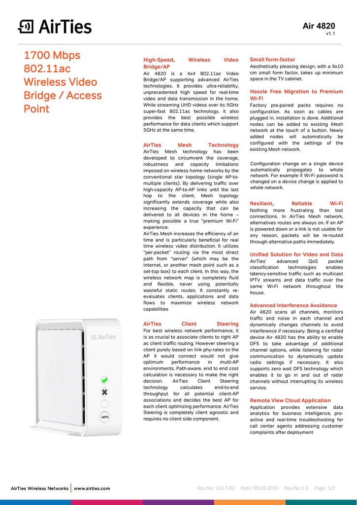 1700 Mbps 802 11ac Wireless Video Bridge / Access Point