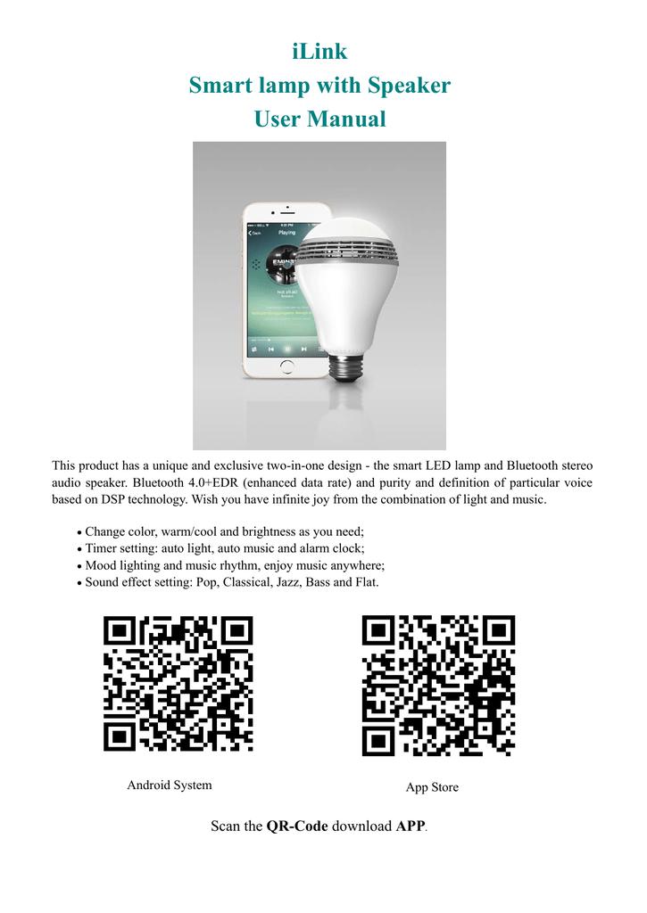 iLink Smart lamp with Speaker User Manual | manualzz com