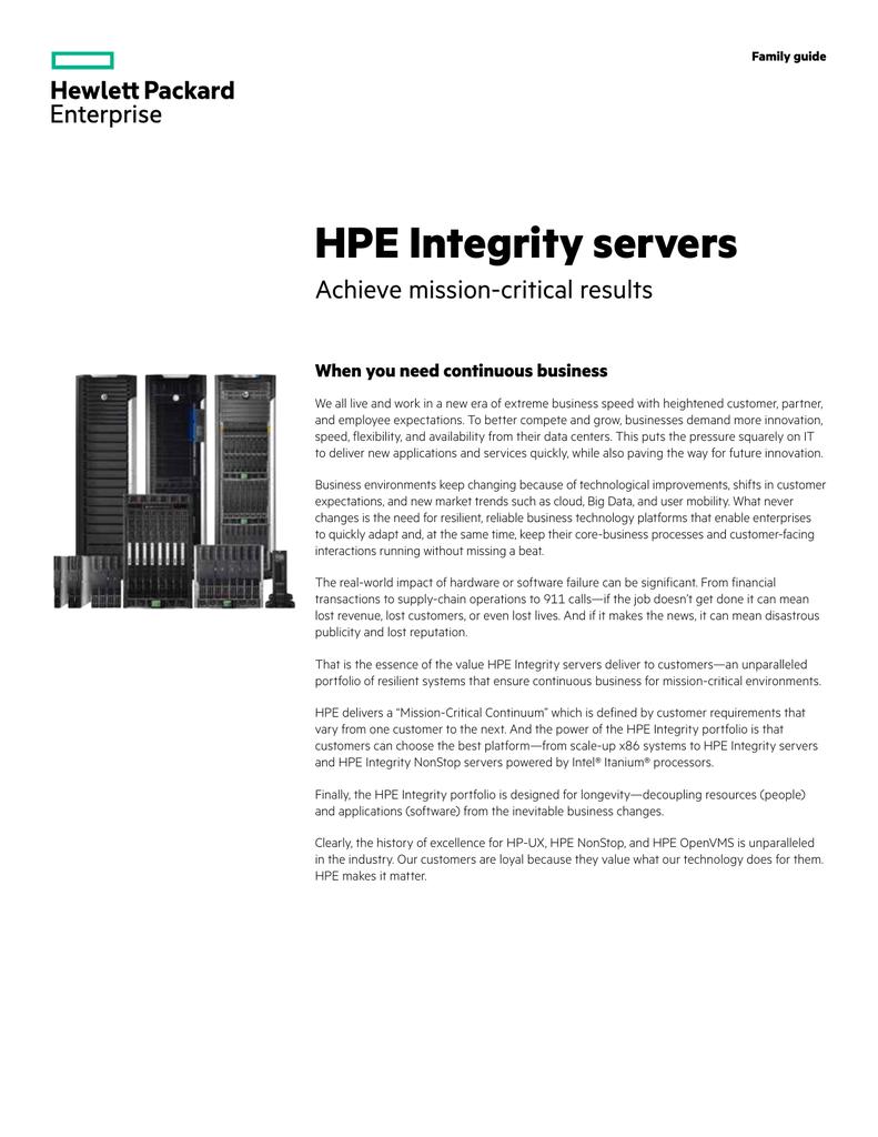 HPE Integrity servers | manualzz com