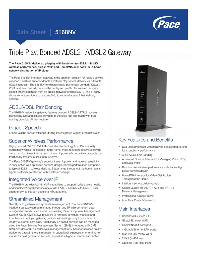 Data Sheet - Pace 5168NV Gateway | manualzz com