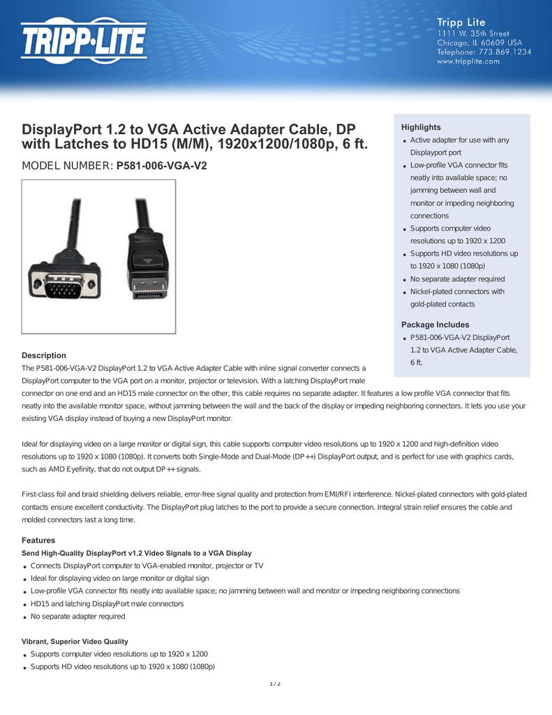 DisplayPort 1 2 to VGA Active Adapter Cable, DP   manualzz com