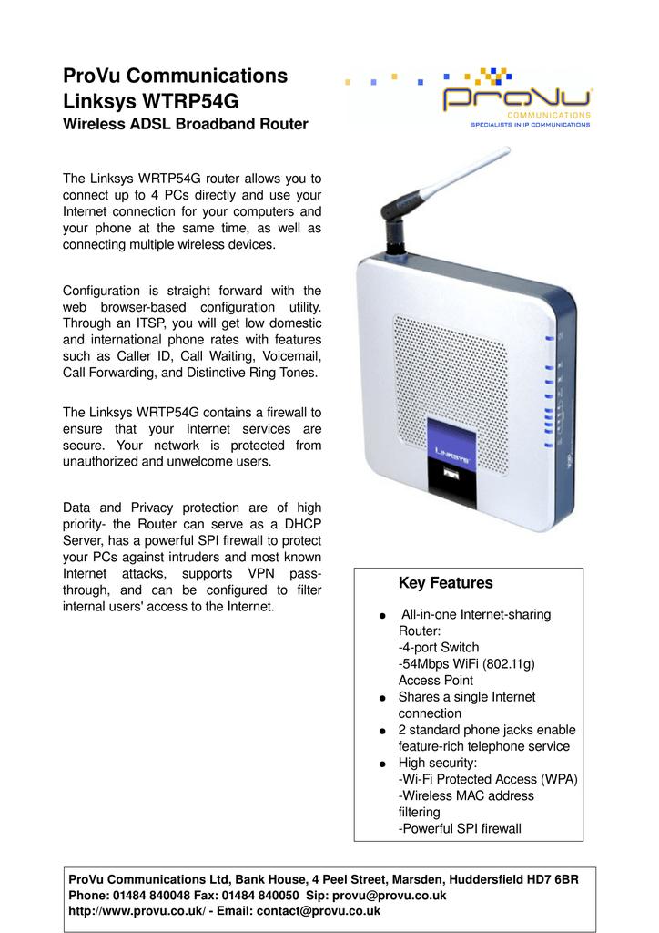 ProVu Communications Linksys WTRP54G   manualzz com