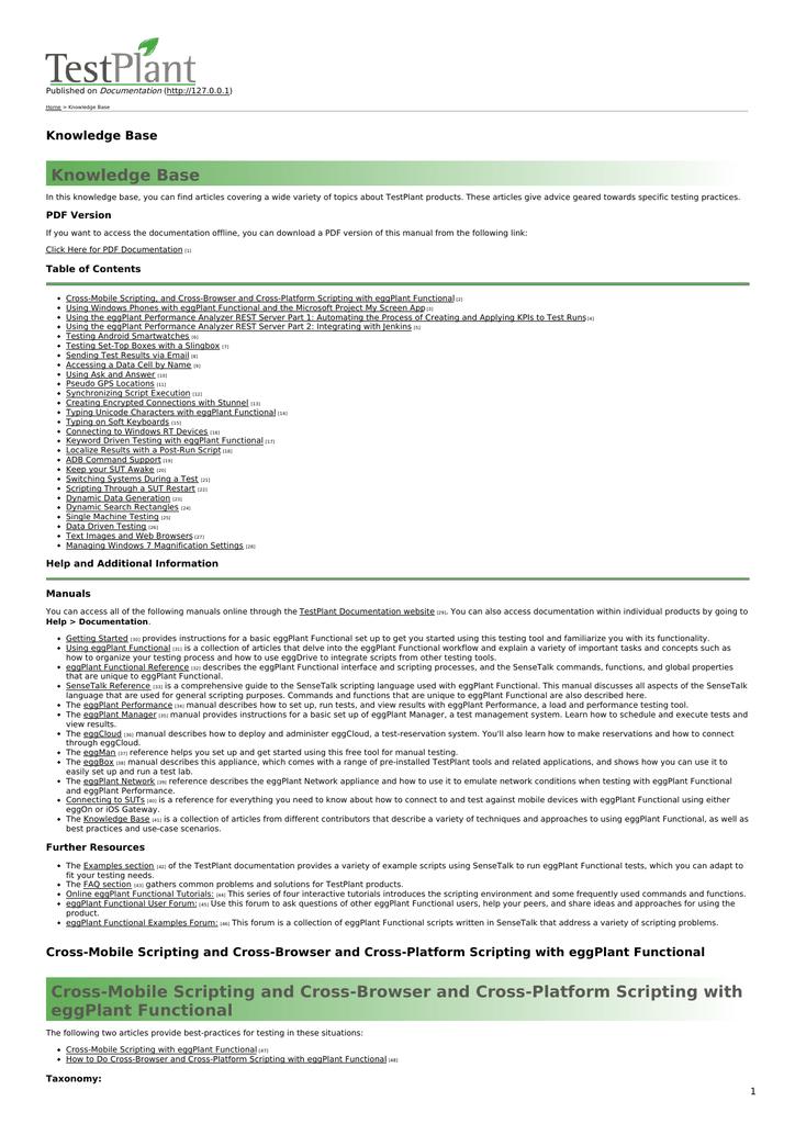 Knowledge Base - eggPlant Documentation Home | manualzz com