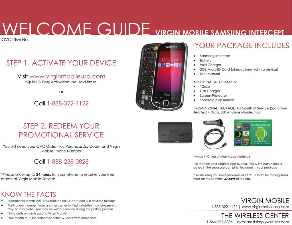 welcome guide virgin mobile samsung intercept step 1 | manualzz com