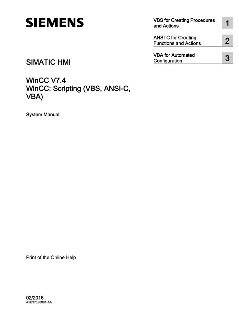 SIMATIC HMI WinCC V7 4 - Scripting (VBS, ANSI | manualzz com