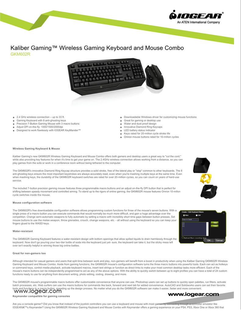 Kaliber Gaming™ Wireless Gaming Keyboard and Mouse