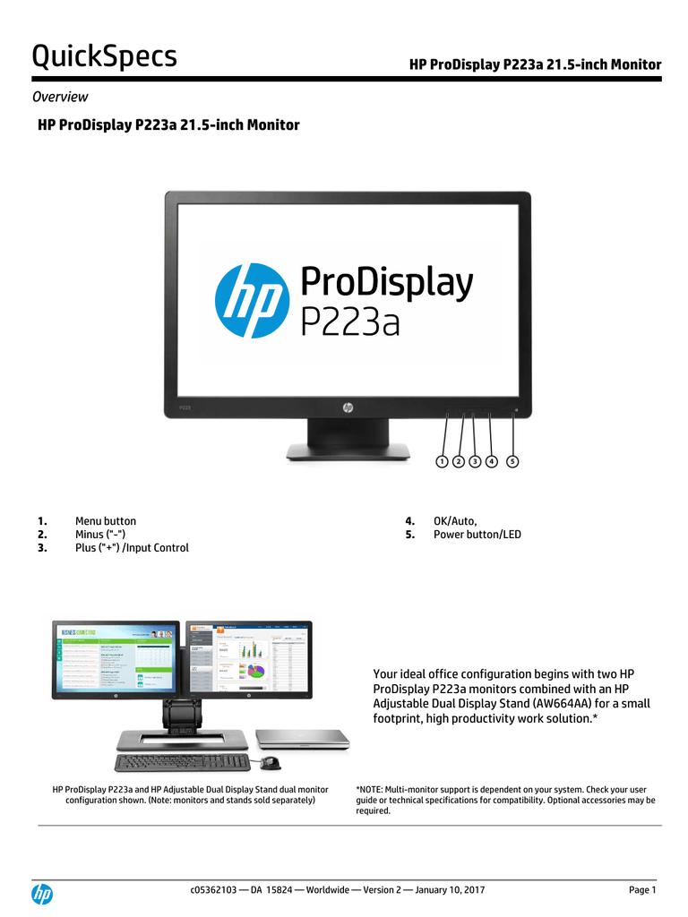 HP ProDisplay P223a 21 5-inch Monitor | manualzz com