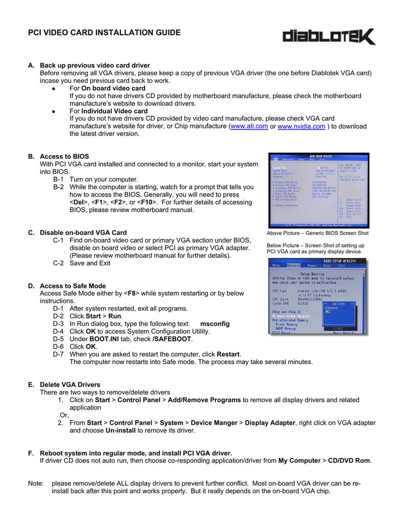 pci video card installation guide | manualzz com