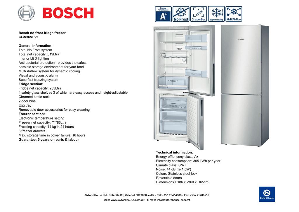 Bosch No Frost Fridge Freezer Kgn36vl22 General Manualzz