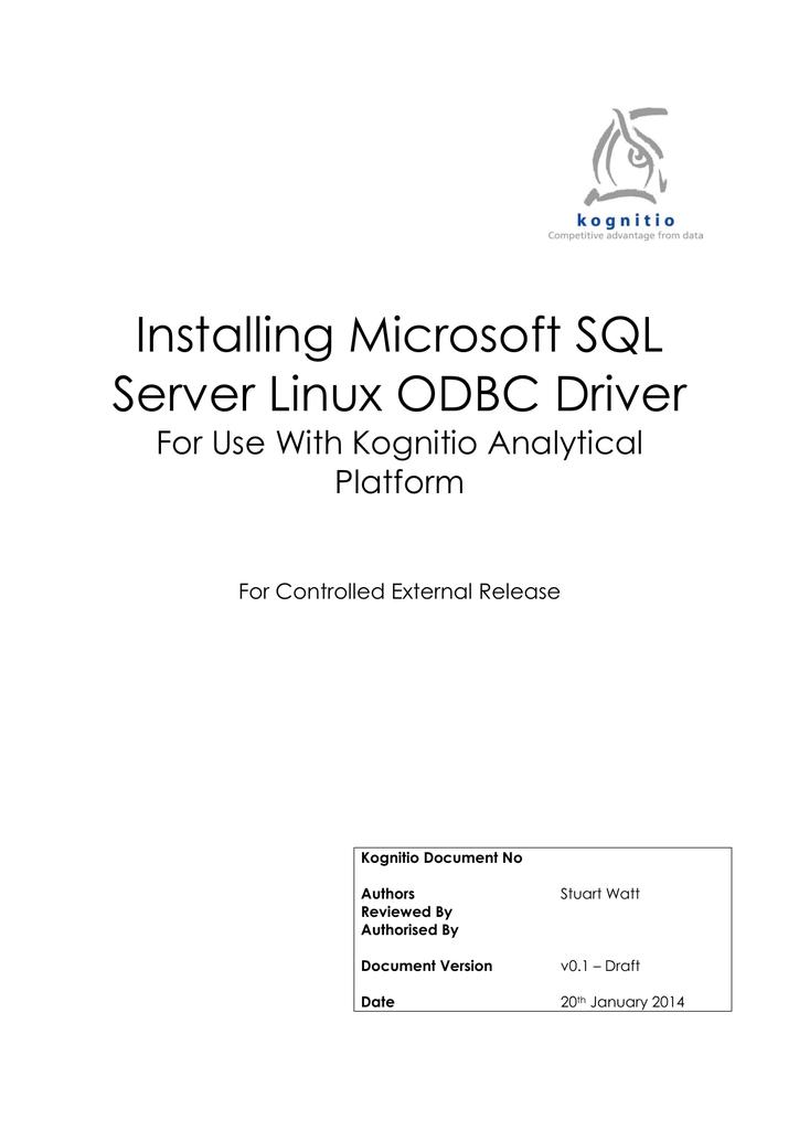 Installing Microsoft SQL Server Linux ODBC Driver   manualzz com