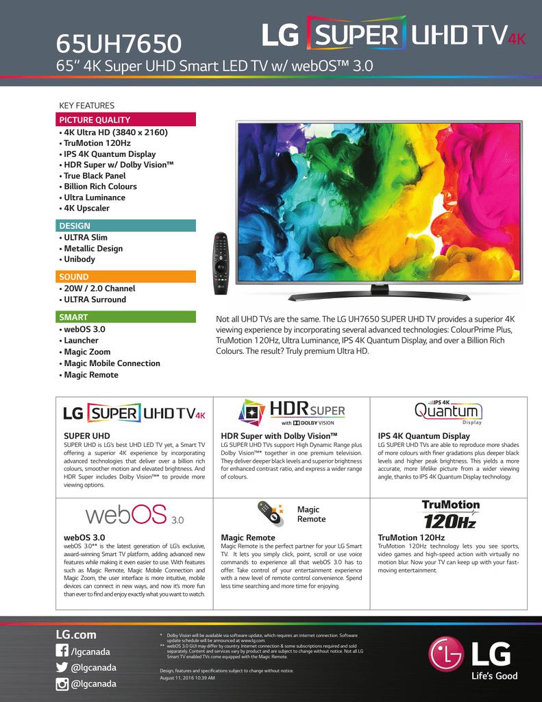 "65UH7650 65"" 4K Super UHD Smart LED TV w/ webOS™ 3 0"