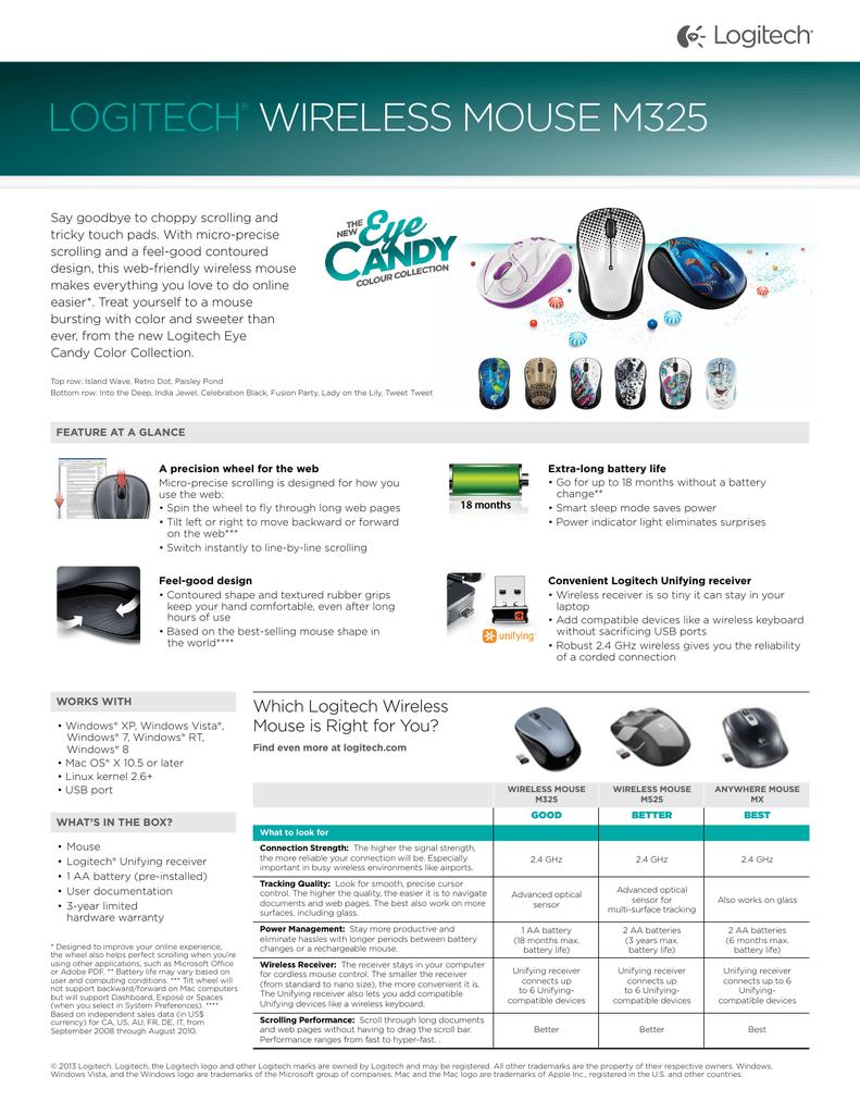 logitech® wireless mouse m325 | manualzz com
