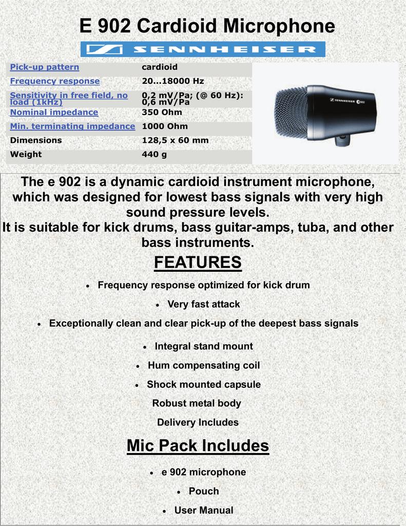 Sennheiser E 902 Cardioid Microphone front page website | manualzz com