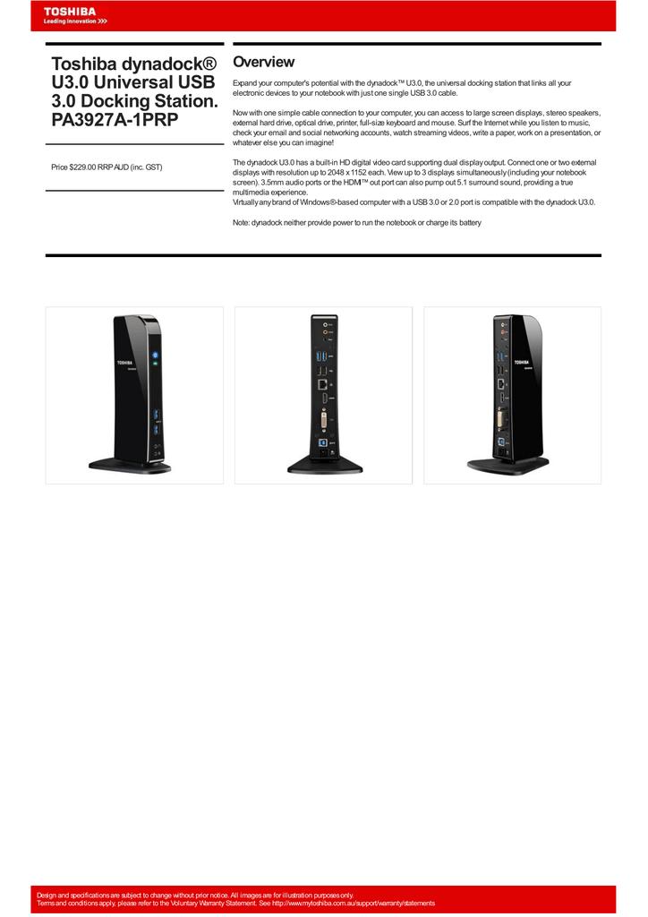Toshiba dynadock® U3 0 Universal USB 3 0 Docking Station