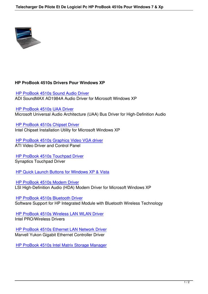 Telecharger De Pilote Et De Logiciel Pc HP ProBook 4510s