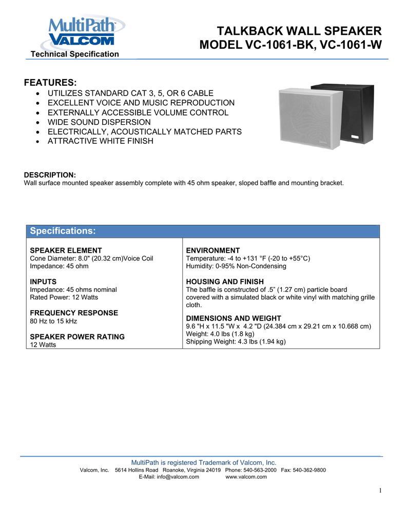 TALKBACK WALL SPEAKER MODEL VC-1061-BK, VC | manualzz com