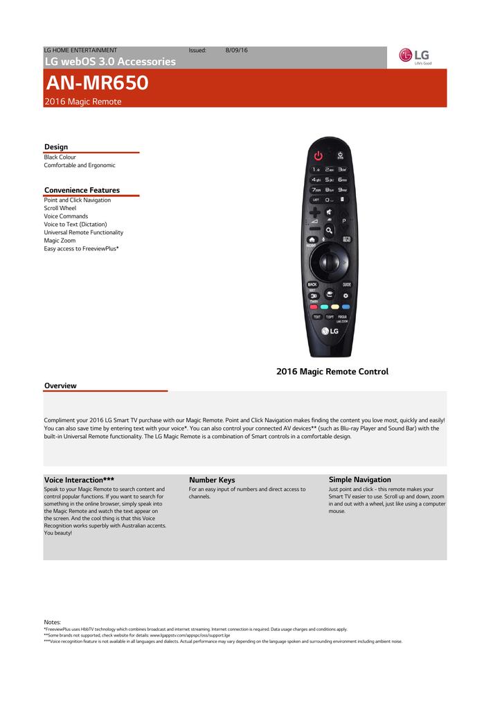 LG AN-MR650 Specification | manualzz com