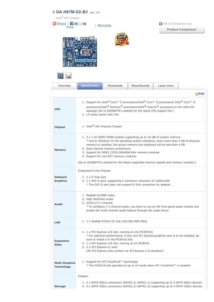 GIGABYTE - Motherboard - Socket 1155 - GA-H67M-D2 | manualzz com