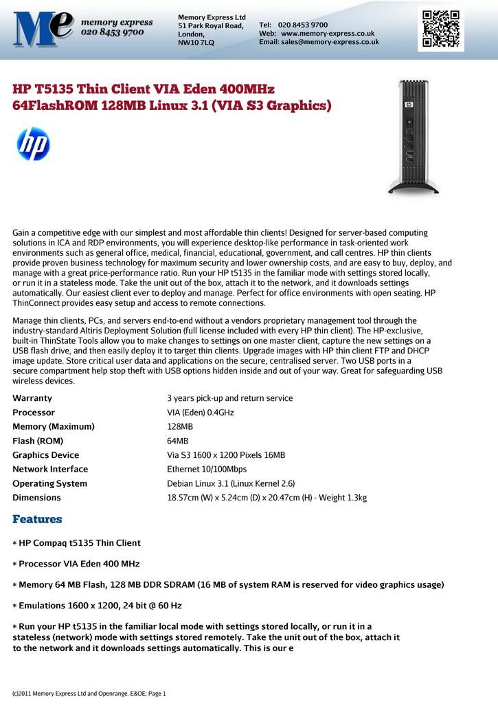 HP T5135 Thin Client VIA Eden 400MHz 64FlashROM 128MB Linux