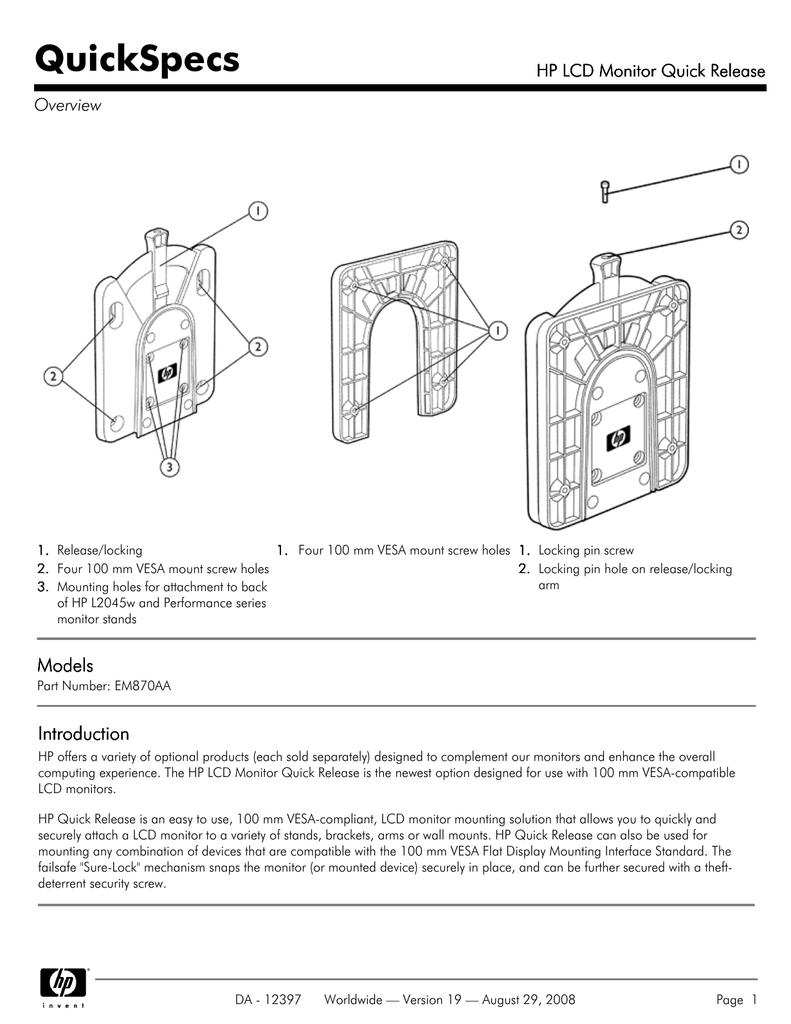HP Hewlett Packard Monitor Quick Release Mounting Bracket Includes Screws