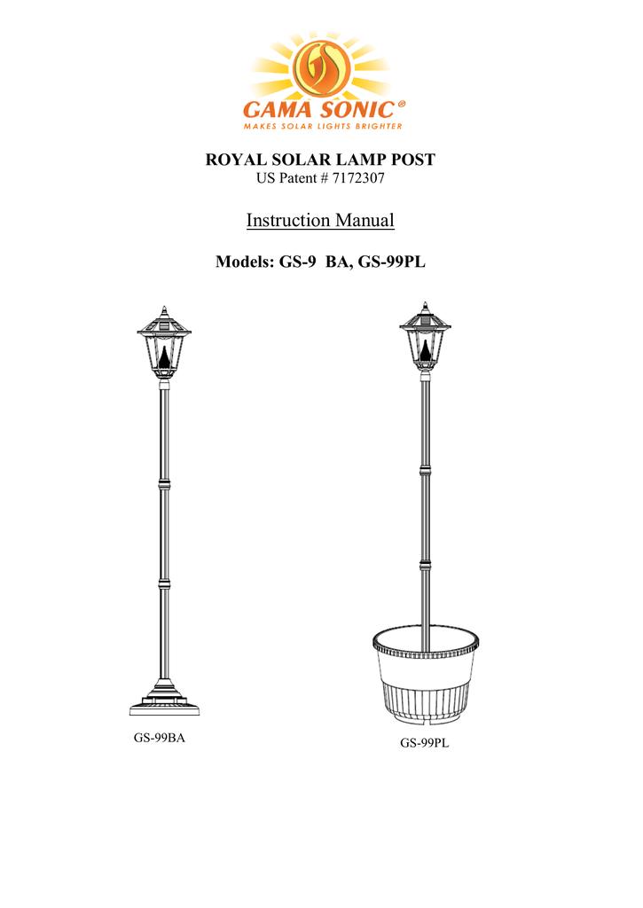 6117b11be royal solar lamp post | manualzz.com