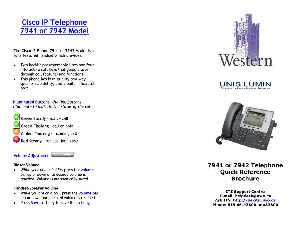 Cisco IP Telephone 7941 or 7942 Model | manualzz com