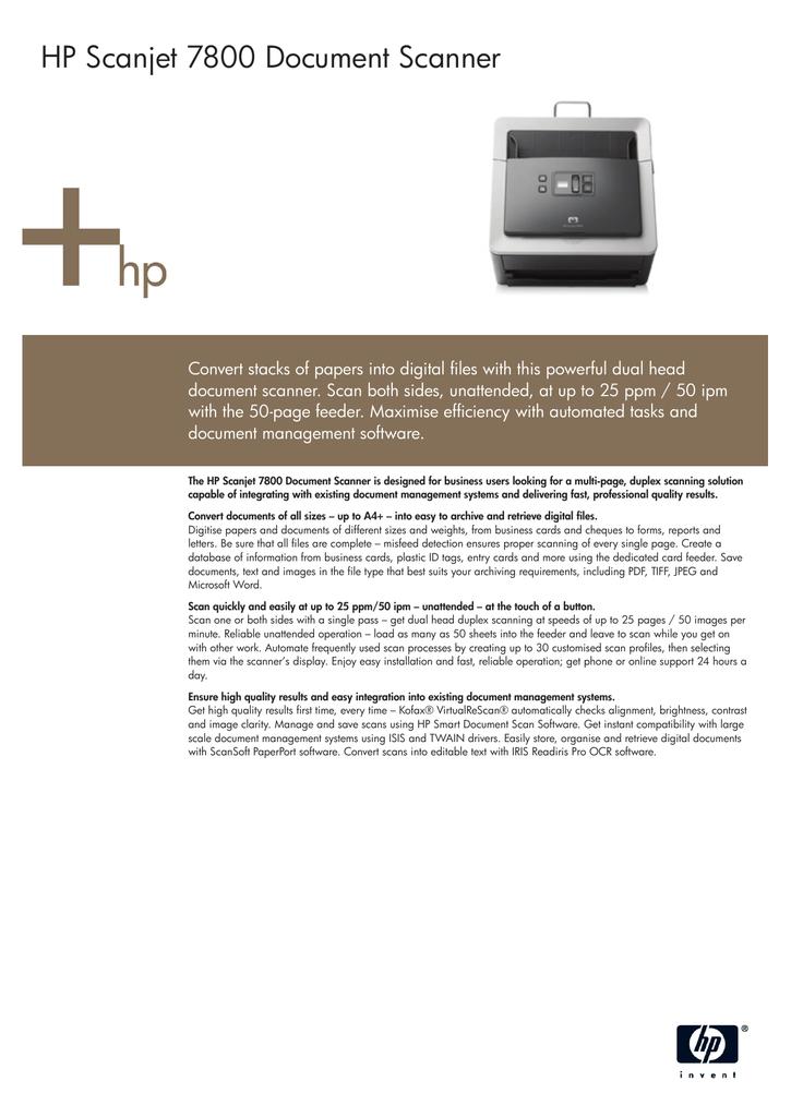 Hp Scanjet 7800 Document Scanner Datasheet Manualzz