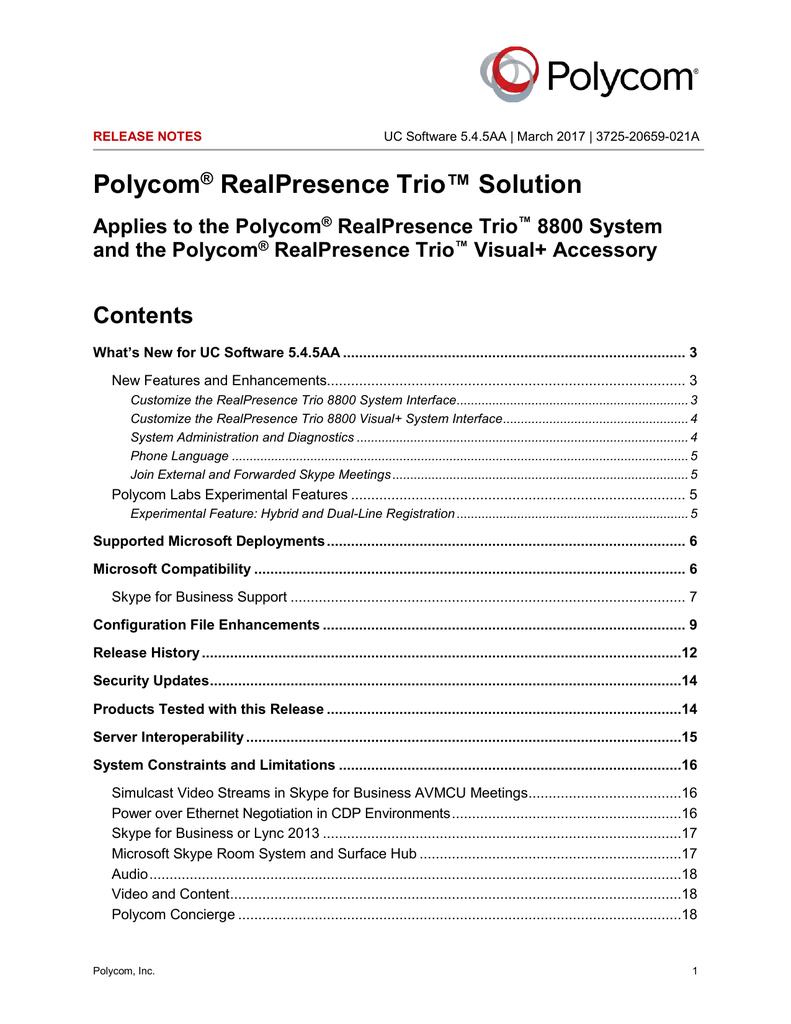 Polycom UC Software 5 4 5AA for Polycom RealPresence Trio | manualzz com