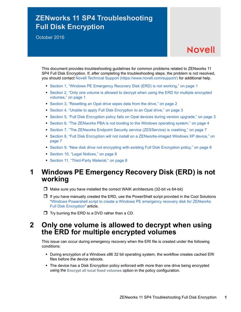 ZENworks 11 SP4 Troubleshooting Full Disk Encryption