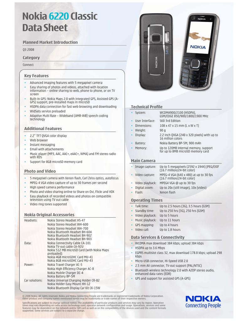 Nokia 6220 Classic Data Sheet | manualzz com