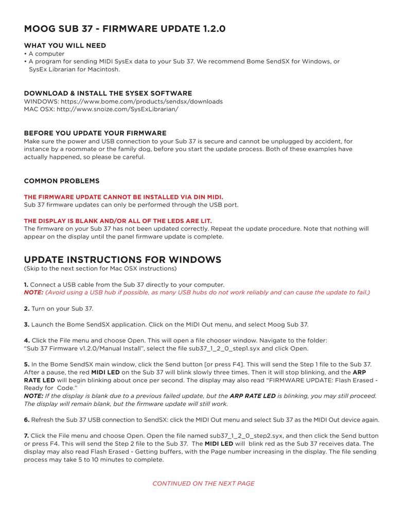 moog sub 37 - firmware update 1 2 0 update | manualzz com
