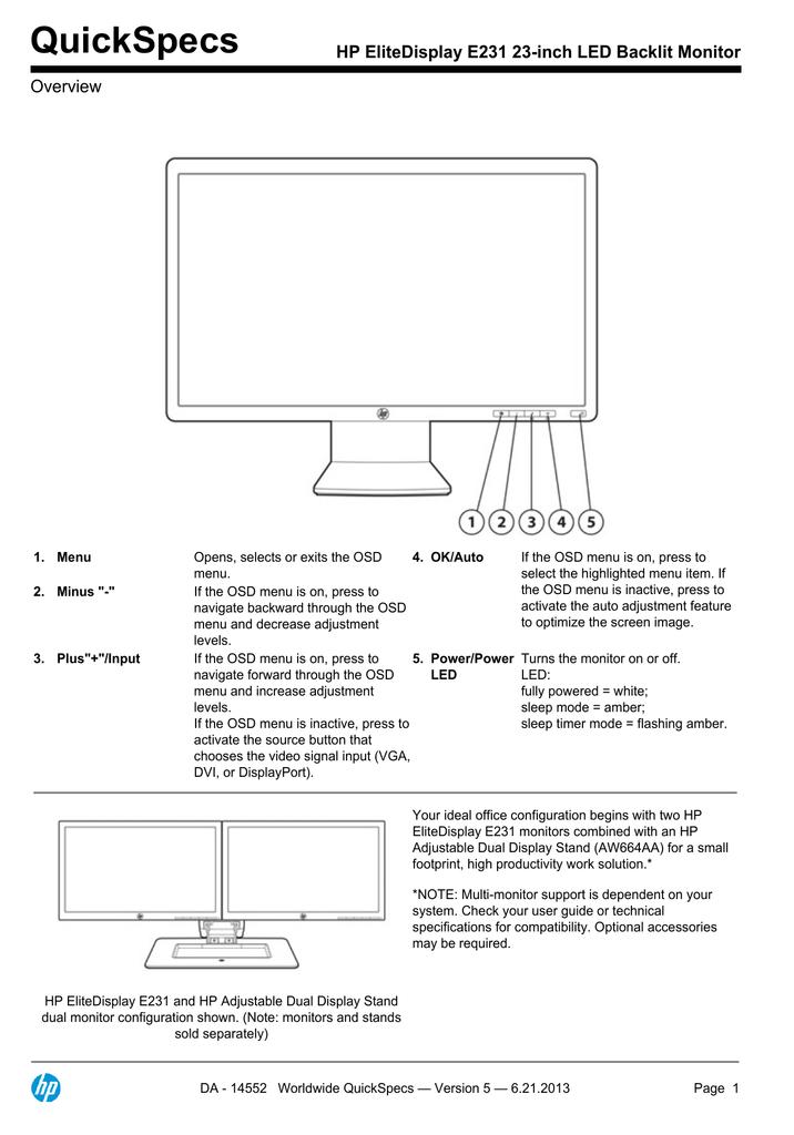 HP EliteDisplay E231 23-inch LED Backlit Monitor | manualzz com