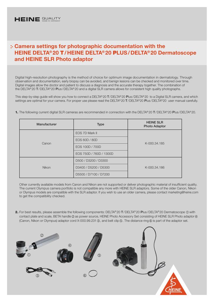 Camera settings for photographic documentation | manualzz com