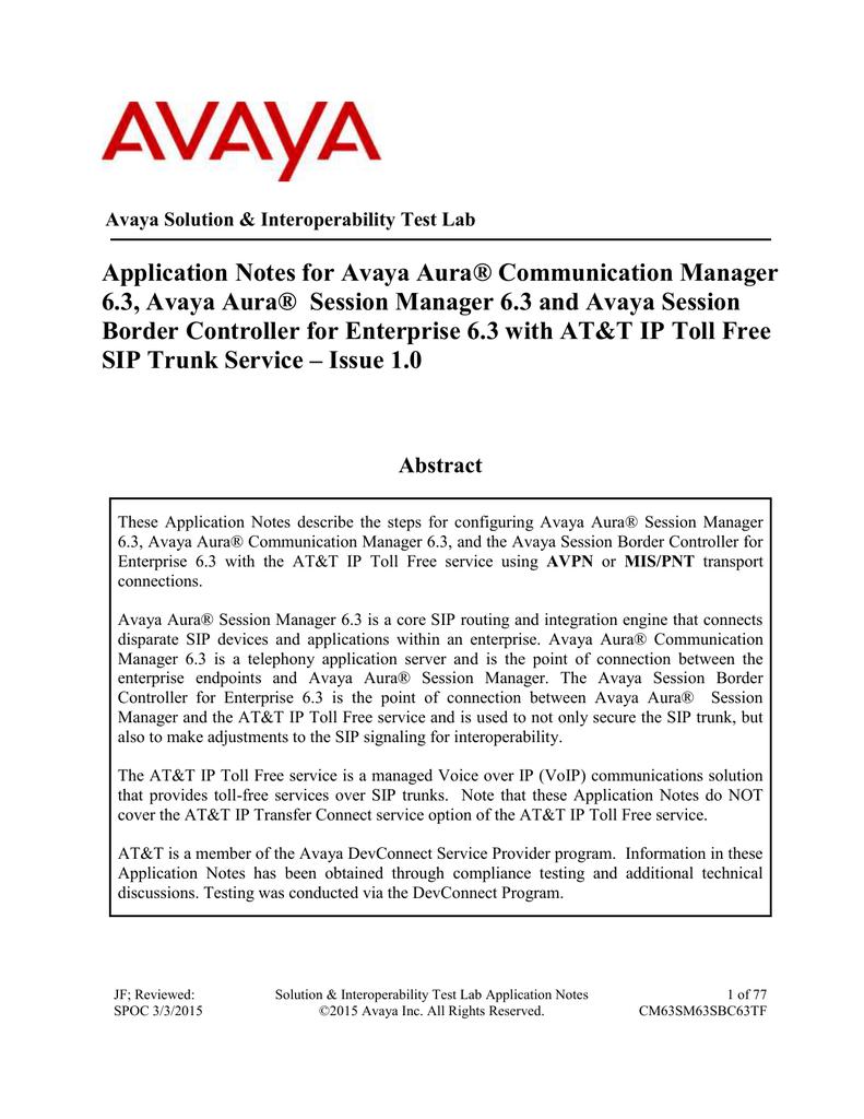 Application Notes for Avaya Aura® Communication Manager 6 3