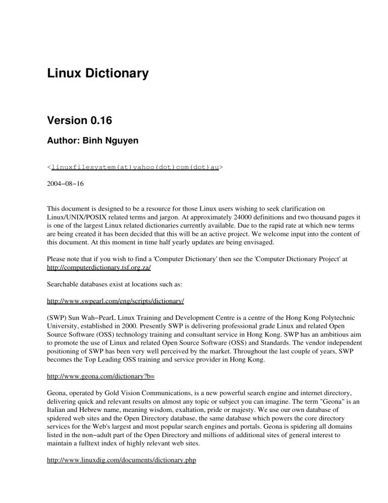 linux dictionary ut school of