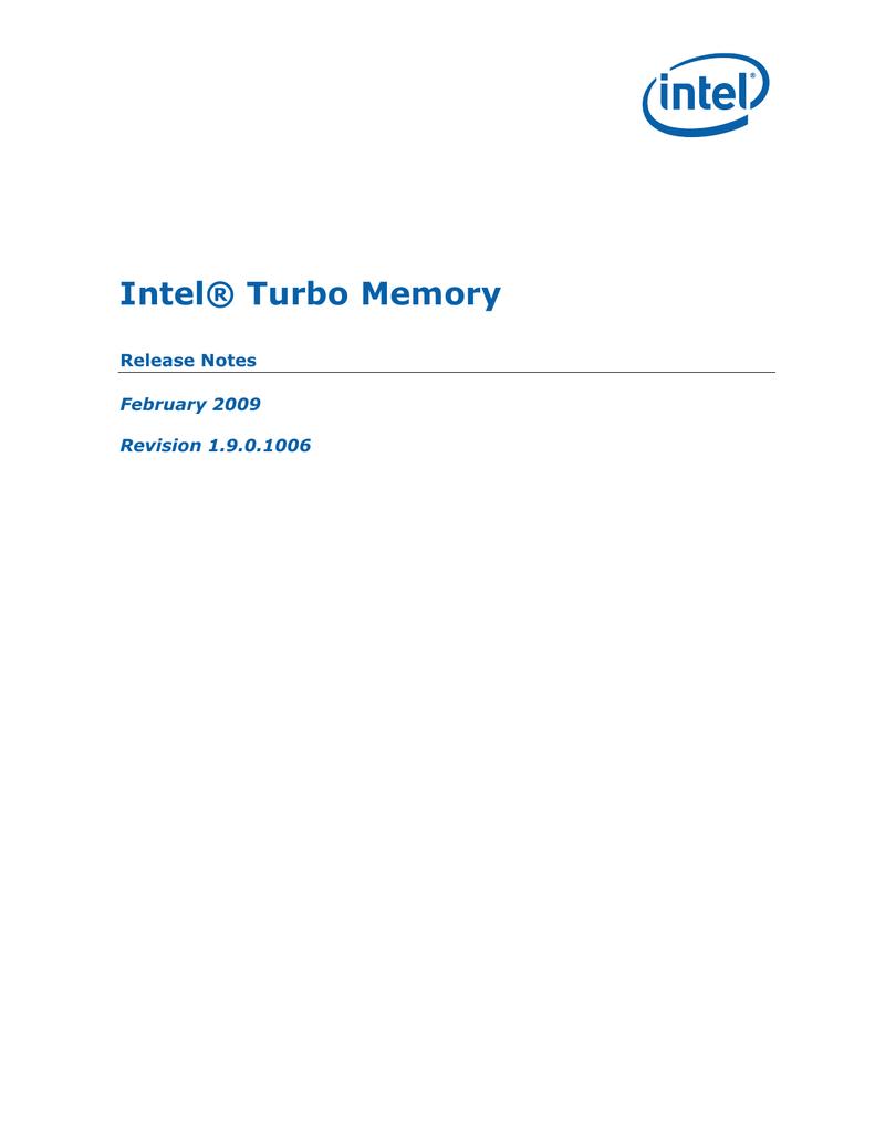 Release Notes for Intel(R) Turbo Memory v1 7 | manualzz com