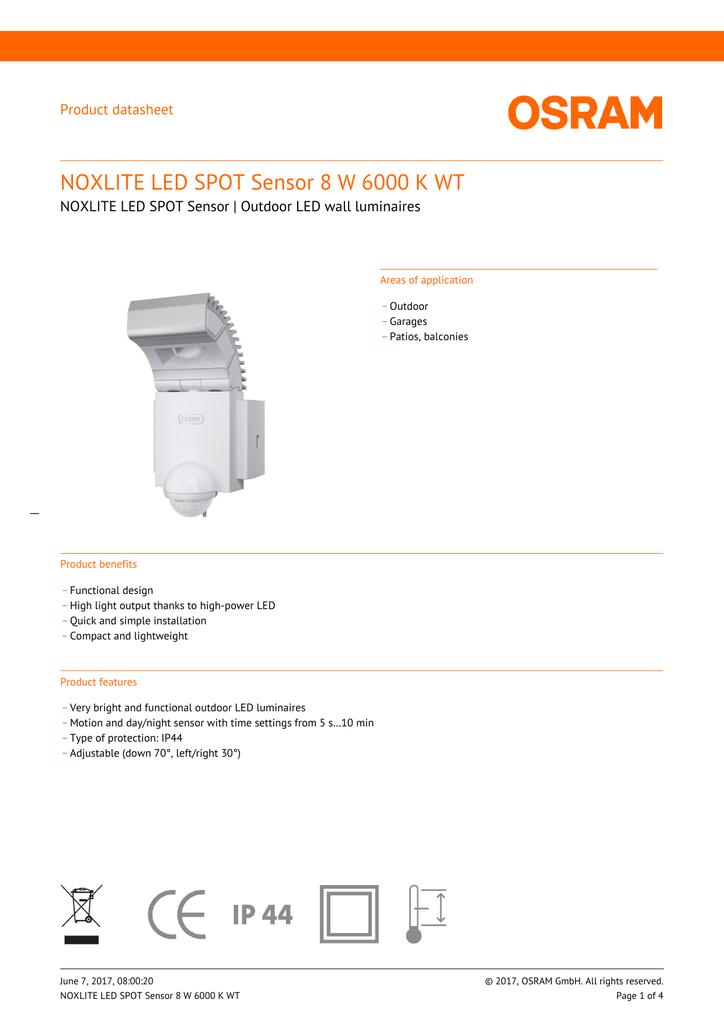 NOXLITE LED SPOT Sensor 8 W 6000 K WT | manualzz com