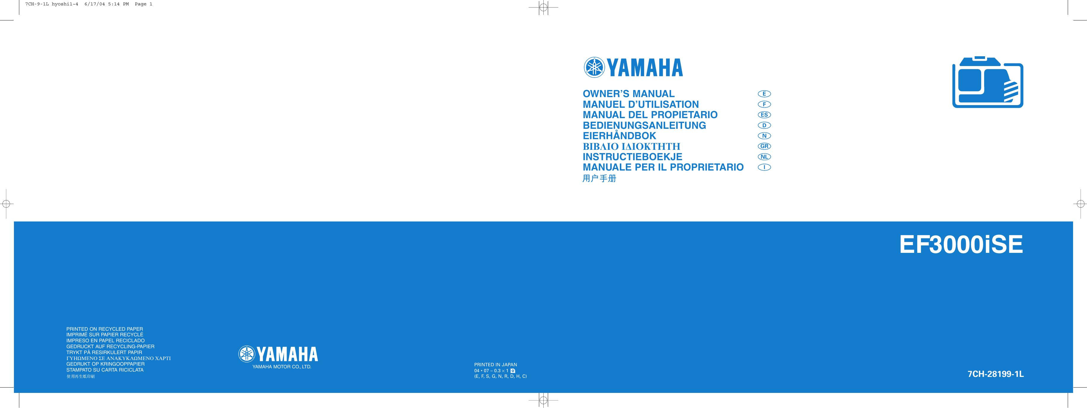 EF3000iSE - Yamaha Motor Europe   manualzz.com on