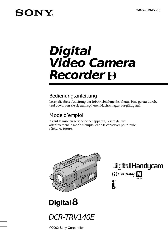 Sony DCR TRV12E Owner's manual   Manualzz