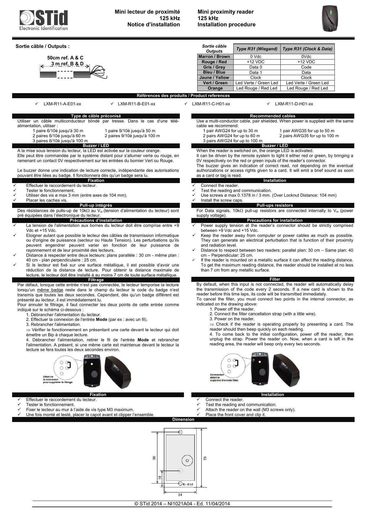 Mini lecteur proximité 125 kHz STID LXM