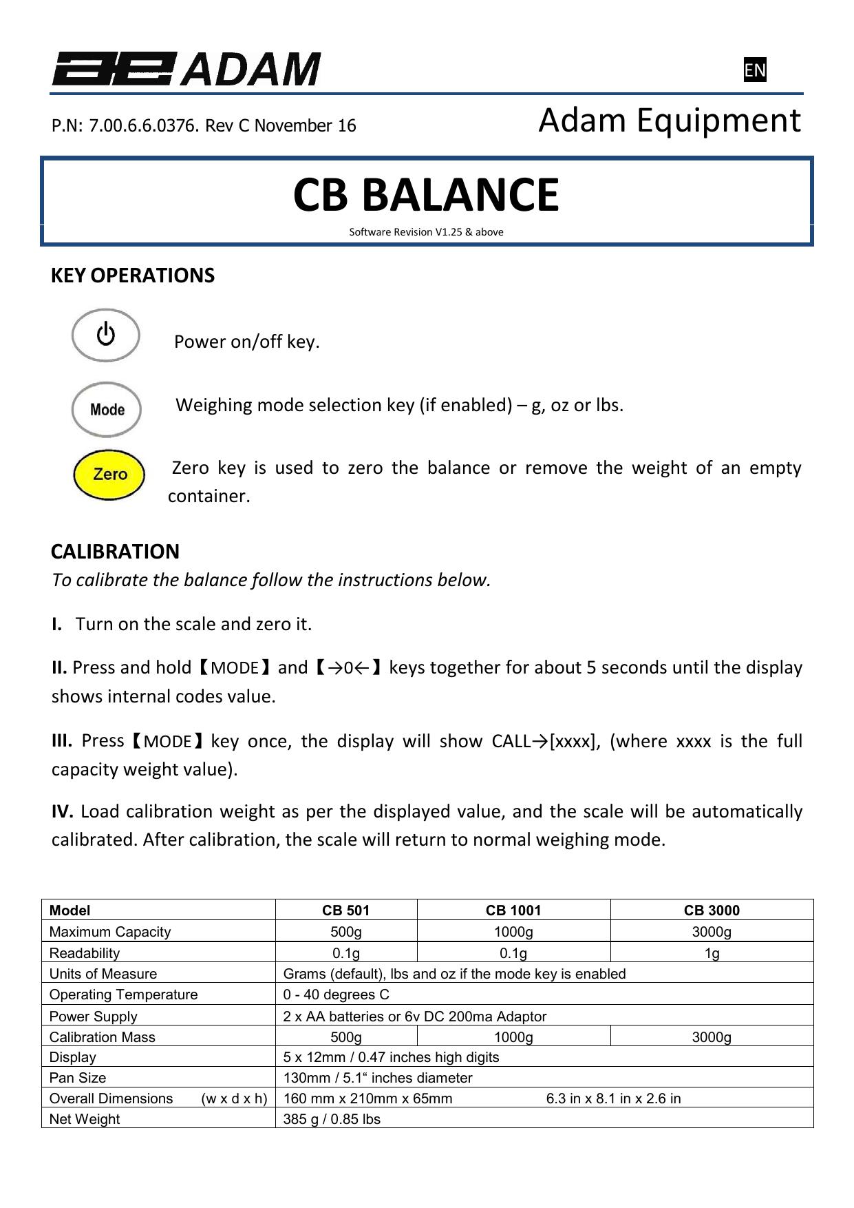500g Capacity 0.1g Readability Adam Equipment CB 501 Compact Balance