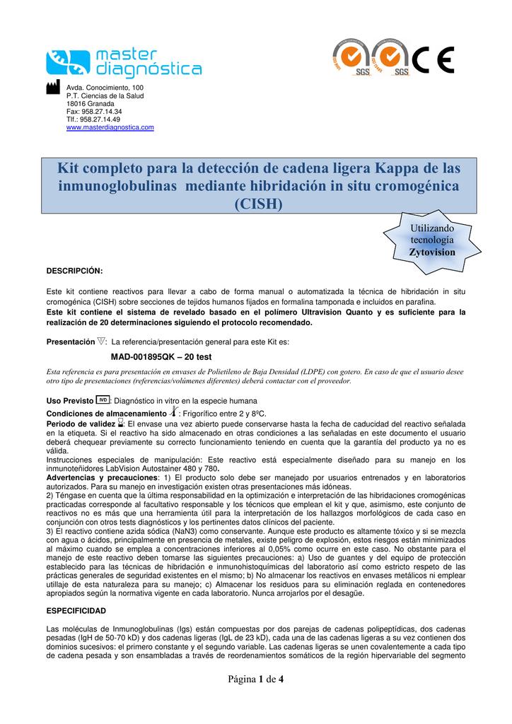Fundir Deducir calor  Kit completo para la detección de cadena ligera Kappa de las | Manualzz