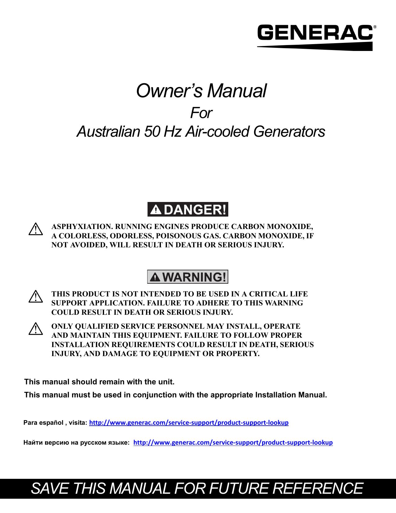 Owner`s Manual For Australian 50 Hz Air-cooled Generators | manualzz com